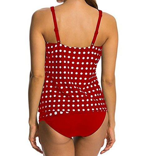 Eternatastic Women's Retro Polka Dot Tankini Swimwear Two Pieces Swimsuit Red L by Eternatastic (Image #4)