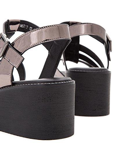 Pantofole Sandali Tacchi tacco alti DHG moda Sandali piatti da tacco 34 Argento basso con casual donna a estivi Sandali basso alla ZxvTAE