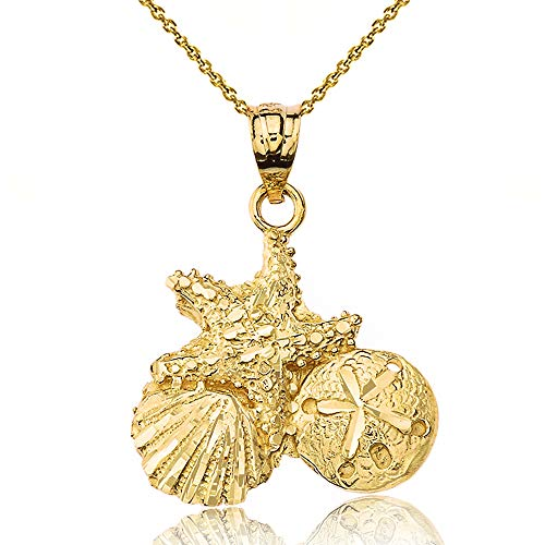 Textured 14k Gold Starfish Cockle Sea Shell and Sand Dollar Pendant Necklace, 20