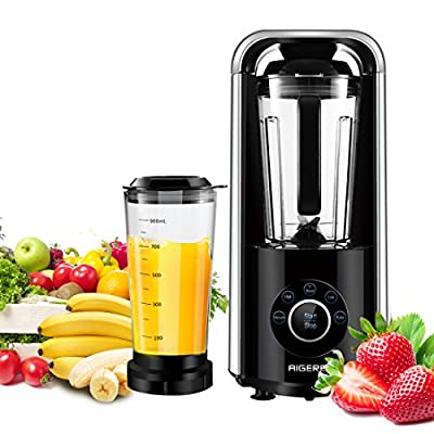 Vacuum High Speed Smoothie Blender, Professional Blender Food Processor Anti-oxidation Function for Ice Fruits Shakes, Smoothie Maker, Silver, with Recipe, 1ps Vacuum Cup, Blender +Vacuum Assembly
