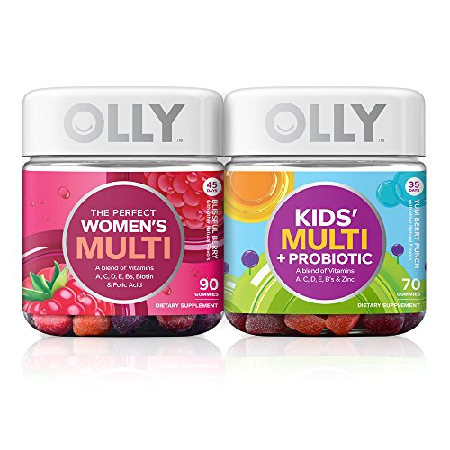 OLLY Women's and Kids Multivitamin + Probiotic Family Pack, 2 Count