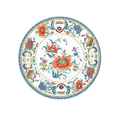 Caspari Chinese Ceramic Paper Salad & Dessert Plates in White, Two Packs of 8