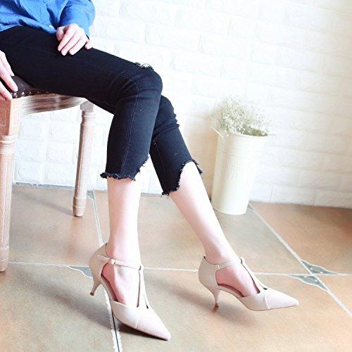 Xue Qiqi Pumps, Schuhe mit Hohen Absätzen Herrenschuhe Elegante T Punkt Gurt Frauen Punkt T Naht Flach Mund Schuhe Geschlitzten Binden Einzelne Schuhe Beige dad046