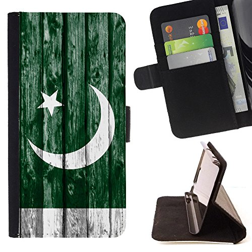 FJCases Pakistan Pakistani Wood Pattern Flag Slim Wallet Card Holder Flip Leather Case Cover for Sony Xperia XZ - Boys Pakistani Image