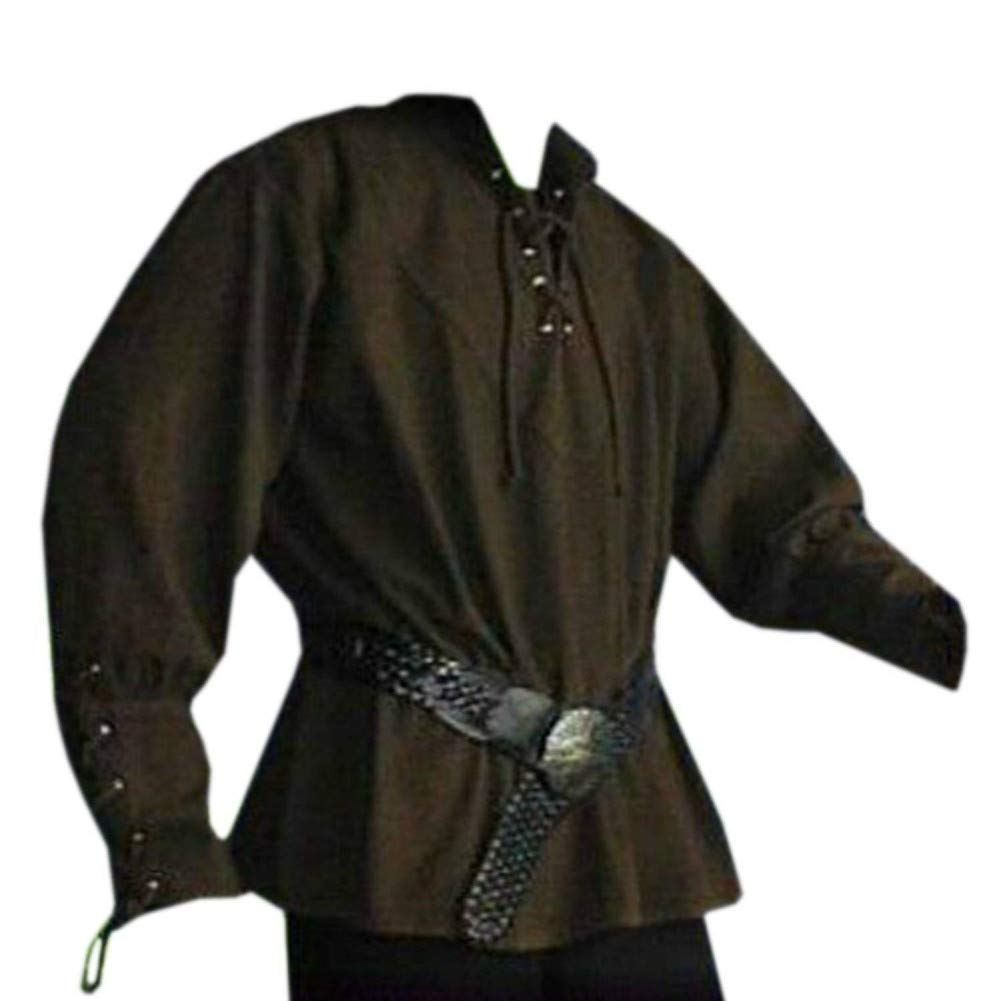 Pengfei Mens Medieval Pirate Lace Up Renaissance Costume Mercenary Scottish Wide Cuff Coats