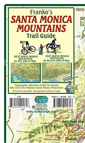 Santa Monica Mountains California Trail Guide Franko Maps Waterproof Map