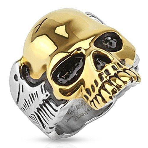 SANDRA Fashion Design 316L Stainless Steel 2-Tone Skull W/ Wings Men'S Biker Ring Size 9-15