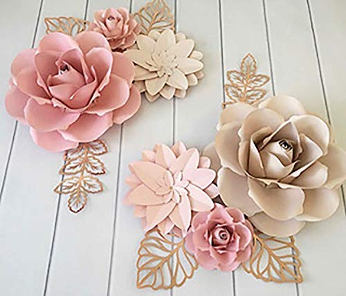 BUBBAPAINT | 3D Paper Flower Decorations for Wall |Backdrop for Décor | Giant Size Pre-Assembled Flower | Girld Nursery Wall Decor | Wendding, Bridal Shower, Baby Shower, Rooms | Pink & Cream