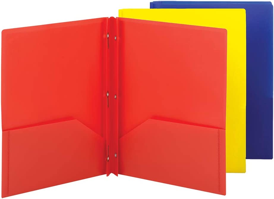Smead Poly Two-Pocket Folder, Three-Hole Punch Prong Fasteners, Letter Size, Assorted Colors, 3 per Pack (87738)