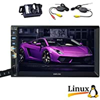 Hotsale 2 Din Car MP5 Video Radio Player in Dash two Din Car Stereo Linux System for Bluetooth Screen Mirroring of Android Phones Function Car Deck Audio Headunit & Wireless Rearview Camera