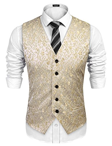 COOFANDY Mens V-Neck Sleeveless Slim Fit Jacket Casual Suit Vests, Fit Tuxedo Waistcoat for Party, Dinner, Prom, Wedding, Banquet,Golden,Small