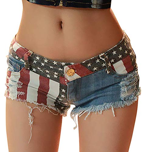 4th of July Women's Low-Rise American Flag Print Daisy Duke Ripped Denim Shorts (1-Blue, US Small)