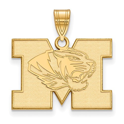Jewelry Stores Network University of Missouri Tigers School Letter Logo Pendant Gold Plated Silver M - (16 mm x 23 mm) (Pendant Logo Tigers)