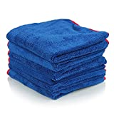 #4: Professional Grade Miracle Microfiber Towel TAGLESS, Red (24 in. x 16 in.) (Pack of 6) (blue with red trim)