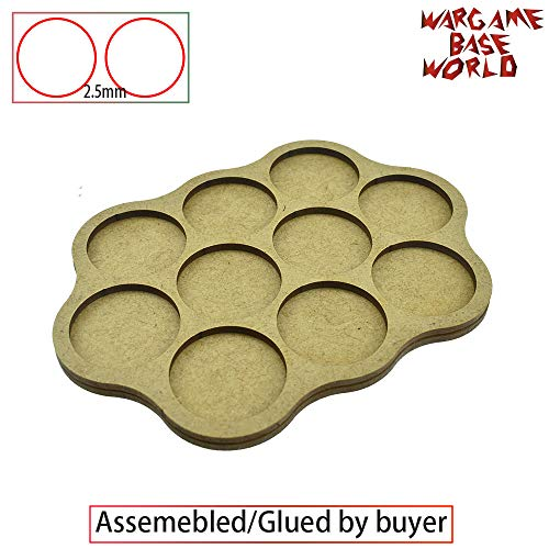 Mercury_Group,Round Rectangle Oval Square Gaming Base,_orld - Movement Tray - 10 Bases 32mm Round -Triple Derangements Shape MDF - ( Color:2.5mm Distance ) ()