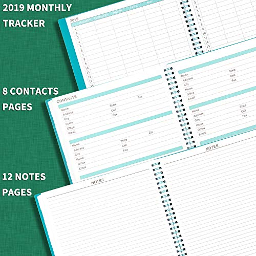 2019 Monthly Planner - 2019 Planner with Tabs & Pocket & Lable, Contacts and Passwords, Thick Paper, Twin-Wire Binding, 8.5