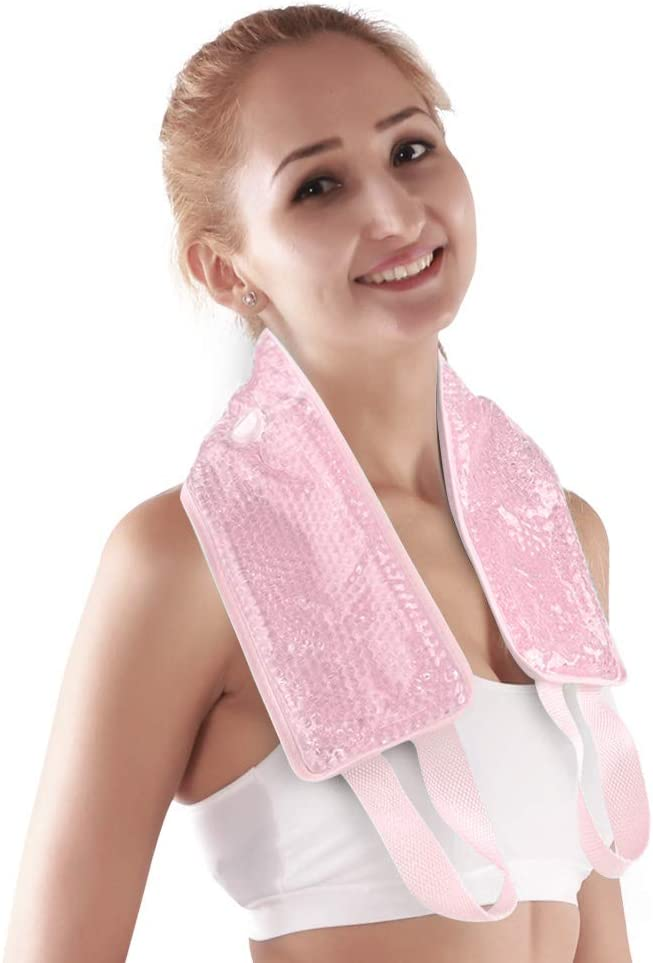 """NEWGO®Neck Ice Pack Wrap Cooling Gel Wrap for Pain Relif, Flexible Hot Cold Pack with Soft Plush Backing for Neck (24.8""""x 4.13"""")- Pink"""