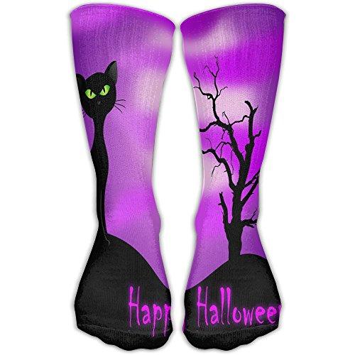 Novelty Happy Halloween Black Cat Stylish Premium Quality High Socks Sports Crew -