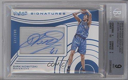 dirk-nowitzki-bgs-graded-9-3-119-basketball-card-2015-16-panini-clear-vision-signatures-cvs-dn