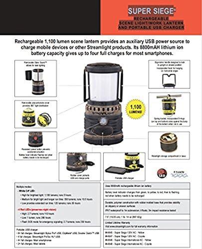 Streamlight 44947 Super Siege 1,100 Lumen 120V AC USB Rechargeable Lantern