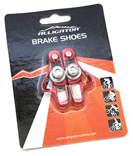 Alligator Super Light Weight Road Bike Brake Cartridge Compatible Shoes Pads with Shimano Dura Ace/Ultegra/105/Sram for Alloy Rims, Red ()