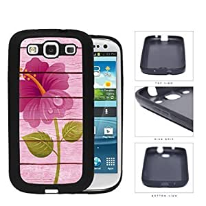Pink Wood Background with Dark Pink Flower Overlay Samsung Galaxy S3 I9300 Hard Silicone PC Cell Phone Case WANGJING JINDA