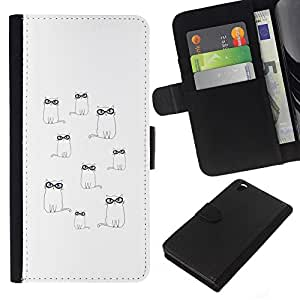 All Phone Most Case / Oferta Especial Cáscara Funda de cuero Monedero Cubierta de proteccion Caso / Wallet Case for HTC DESIRE 816 // Glasses Cute Minimalist White Drawing
