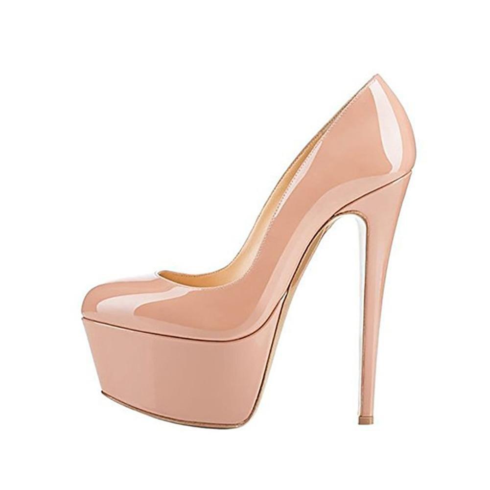 YWNC Femmes dames plate-forme grande fine à talons dames hauts apricot basique pompe en cuir véritable PU Casual noir ronde tête grande taille unique chaussures 40414243444546 apricot f78ec67 - shopssong.space