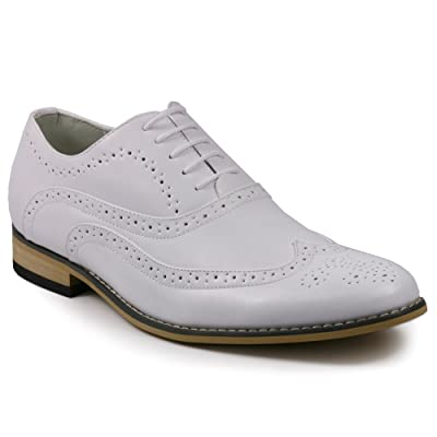 Metrocharm MC102 Men's Wing Tip Perforated Lace Up Oxford Dress Shoes | Oxfords