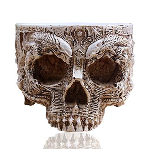 YOTATO White Antique Sculpture Human Skull Planter Garden Storage Pots Container Macetas Decoration Flower Pot Home -