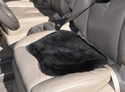Natural Sheepskin Leather Seat Pad Cover for Auto, Car, Office, Kitchen, Travel, Home - Authentic Genuine - Universal Fit - Non-slip backing - Black Merino Wool - - Unique Shape - SKWOOSH