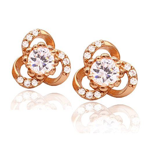 Price comparison product image Juvel Jewelry Rose Gold Stud Earrings 3 Round Channel Setting CZ Gold Cubic Zirconia for Women