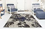 Adgo Ibiza Collection Modern Shades Oriental Floral Distressed Jute Backed Vivid Soft Pile Indoor Living Room Bedroom Kitchen Floor Rug, Ivory Brown Blue, 3′ x 5′ Review