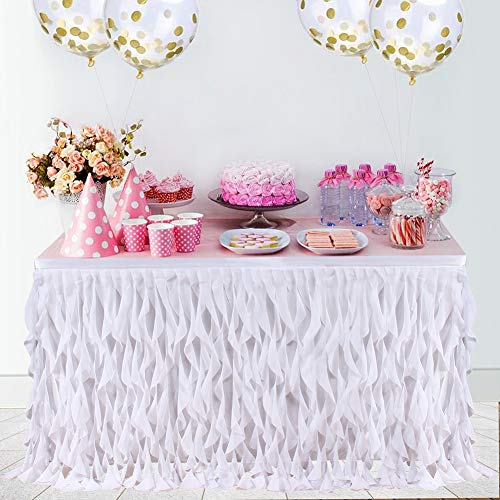 Haperlare 6ft Curly Willow White Table Skirt, Tulle Table Skirt for Rectangle or Round Table Tutu Tablecloth Table Skirting for Wedding Party Baby Shower Birthday Banquet Table Decorations