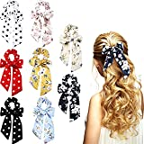 Zhanmai 8 Pieces Bowknot Hair Scrunchies Scrunchy Hair Ties Elastic Bow Hair Bands for Women Girls Hair Accessories (Color Set 2, Chiffon)