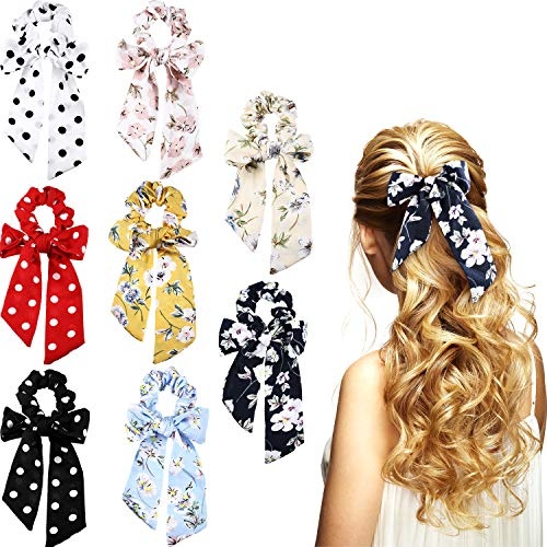 Chiffon Velvet Skirt - Zhanmai 8 Pieces Bowknot Hair Scrunchies Scrunchy Hair Ties Elastic Bow Hair Bands for Women Girls Hair Accessories (Color Set 2, Chiffon)