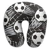 U Neck Pillow Airplane Office Travel Rest Black Soccer Ball Memory Foam U Shape Pillow
