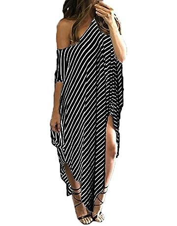 b5f0d5405e Kidsform Women's Maxi Dress Striped Loose Long Dress, Casual Side Split  Kaftan Sundress Black Size