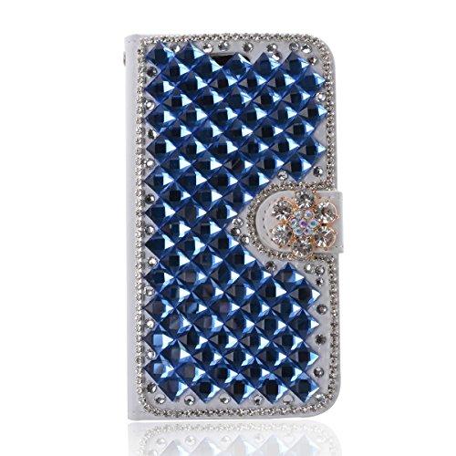 ZTE Blade Qlux 4G Funda, ZTE Blade Qlux 4G billetera Funda, Lifeturt [ Cristal ] Cubierta de la caja de cuero superior de la carpeta del libro para ZTE Blade Qlux 4G E02-36-Azul Diamond