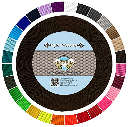 Country Brook Design | Durable 1 Inch Heavy Nylon Webbing | 29 Vibrant Colors (Brown, 50 Yards)