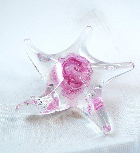 M Design Art Handcraft Ruby Ocean Star Millefiori Glass Paperweight 01