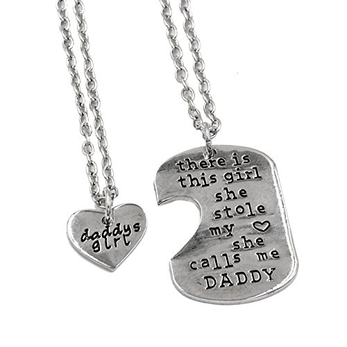 O.RIYA Father Daughter Keychain & Daddys Girl Necklace Set , There's This Girl Who Stole My Heart She Calls Me Daddy , Daddy Gifts From Daughter & Father's Day Gift, Daddys Daughter Gifts for Christmas , Daddys Girl Father Daughter Jewelry