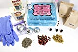 DIY Bath Bomb Starter Kit Deluxe Organic Essential oils, Everything you need to make Bath Bombs 3 Metal Molds, 3 Organic Essential oils, Flowers, Tools and Step by Step Directions