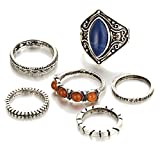 Rings Set;START 6PCS/Set Bohemian Turquoise Ring Vintage Silver Stack Above Knuckle Ring