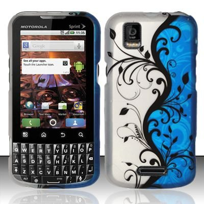 BLUE VINES Hard Plastic Design Matte Case for Motorola XPRT MB612 [In Twisted Tech Retail Packaging] (Motorola Xprt Mb612)
