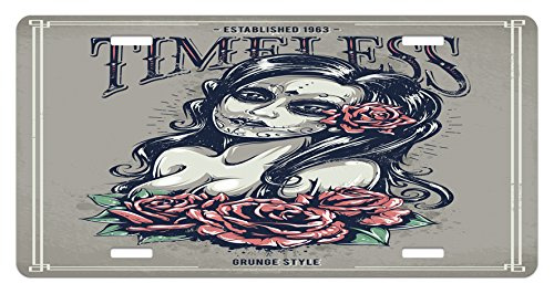 Lunarable Skull License Plate, Day of The Dead Girl with Tattoos Roses Lady Witch Woman Sign Art Print, High Gloss Aluminum Novelty Plate, 5.88