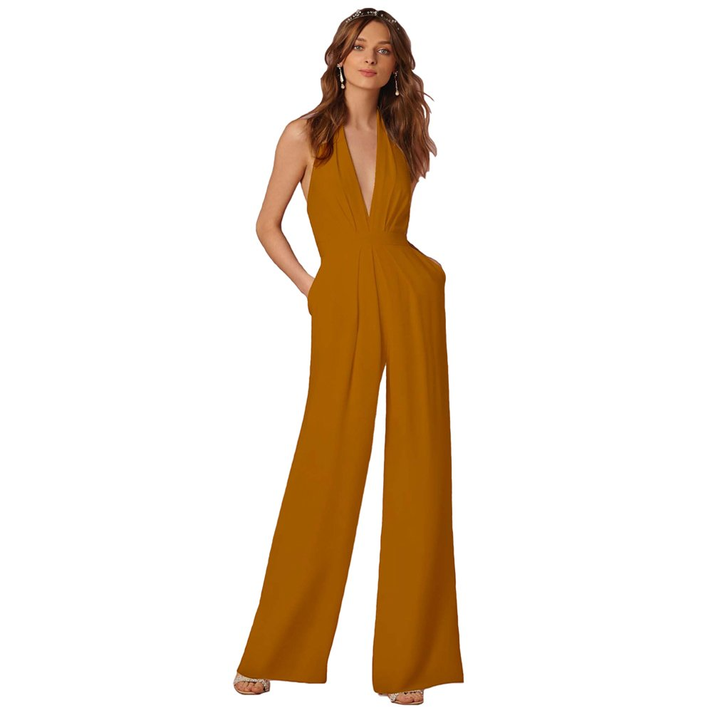 Lielisks Sexy Jumpsuits Formal Sleeveless V-Neck Halter Wide Leg Long Pants Yellow L