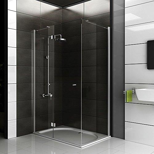 Echtglas Eck Dusche / Dusche ca. 120 x 80 x 200 cm / Duschkabine rahmenlos / klares Sicherheitsglas / Duschabtrennung mit Glasveredelung / Tür mit Seitenwand / Schwingtür / Alpenberger