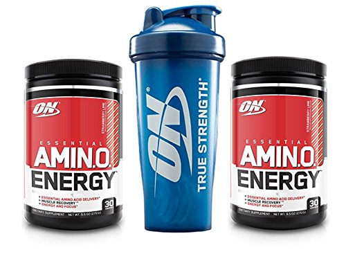 Cheap Optimum Nutrition Essential Amino Energy 2 Flavor Value Pack (30 Serv Each) for Mental Focus, Energy + Post-Workout Recovery + 28 oz ON Logo Blender Bottle (Strawberry Lime)
