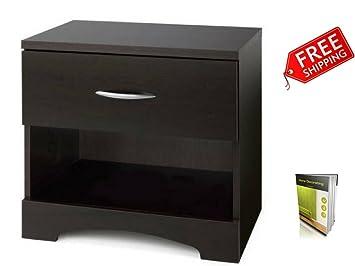 Amazon.com: Mesita de noche Negro Diseño moderno con cajón ...